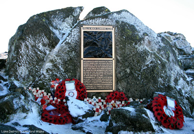 The refurbished memorial on Great Gable summit in the Lake District