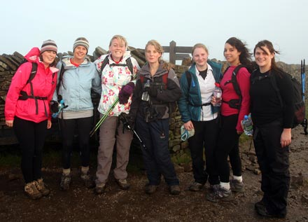 Yorkshire 3 peaks challenge group at Pen Y Ghent summit